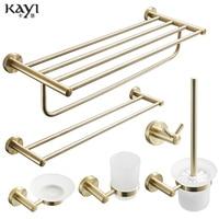 Nordic bath towel rack wire drawing gold Brushed towel rack set bathroom rack 304 stainless steel bathroom hardware pendant
