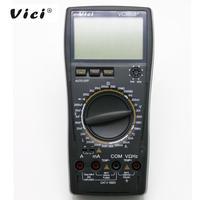 Vici vc9808 + 3 1/2 multímetro digital medidor elétrico indutância resistência tampão frequência temperatura ac/dc ohmmeter tester 20a