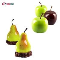 SHENHONG jabłko i gruszka owoce 3D mus formy silikonowe DIY formy Cupcake Cookie Muffin mydło Moule narzędzia do pieczenia w Formy do ciast od Dom i ogród na