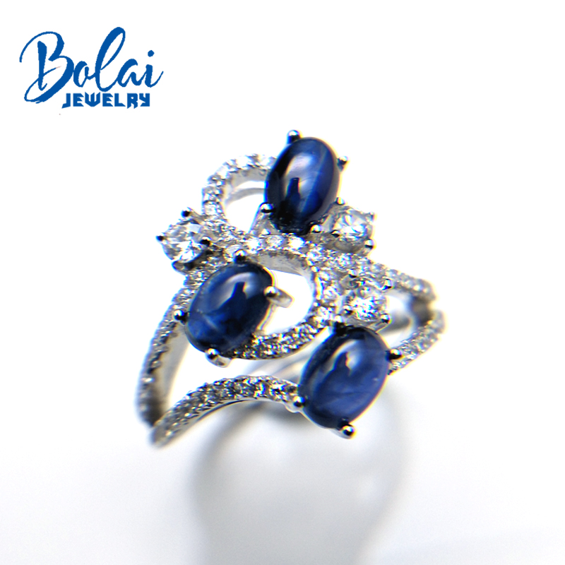 Bolaijewelry,natural dark blue sapphire oval 4*6mm 1.8ct gemstone Ring 925 sterling silver fine jewelry for women party giftBolaijewelry,natural dark blue sapphire oval 4*6mm 1.8ct gemstone Ring 925 sterling silver fine jewelry for women party gift