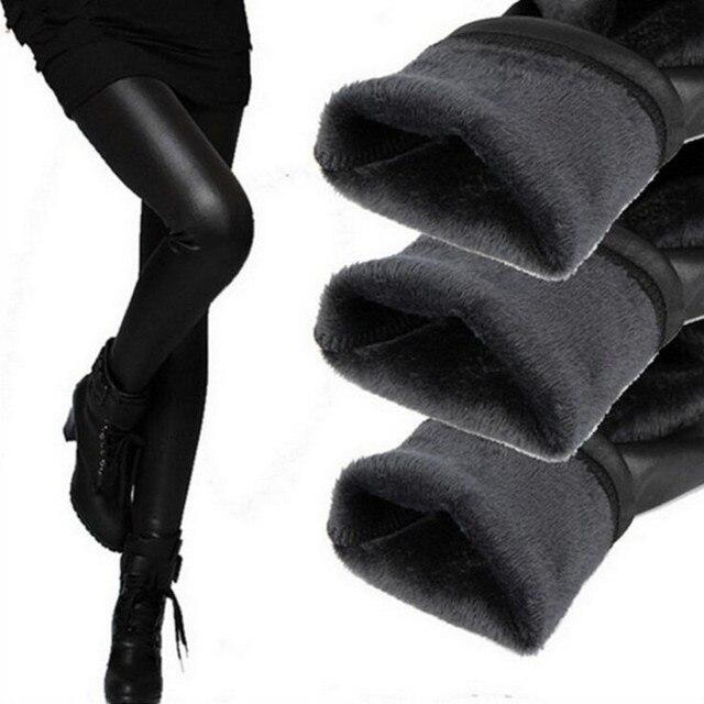 Новый 2016 утолщение черные кожаные сапоги леггинсы узкие брюки зима теплая женские брюки зимние брюки для женщин высокого качества