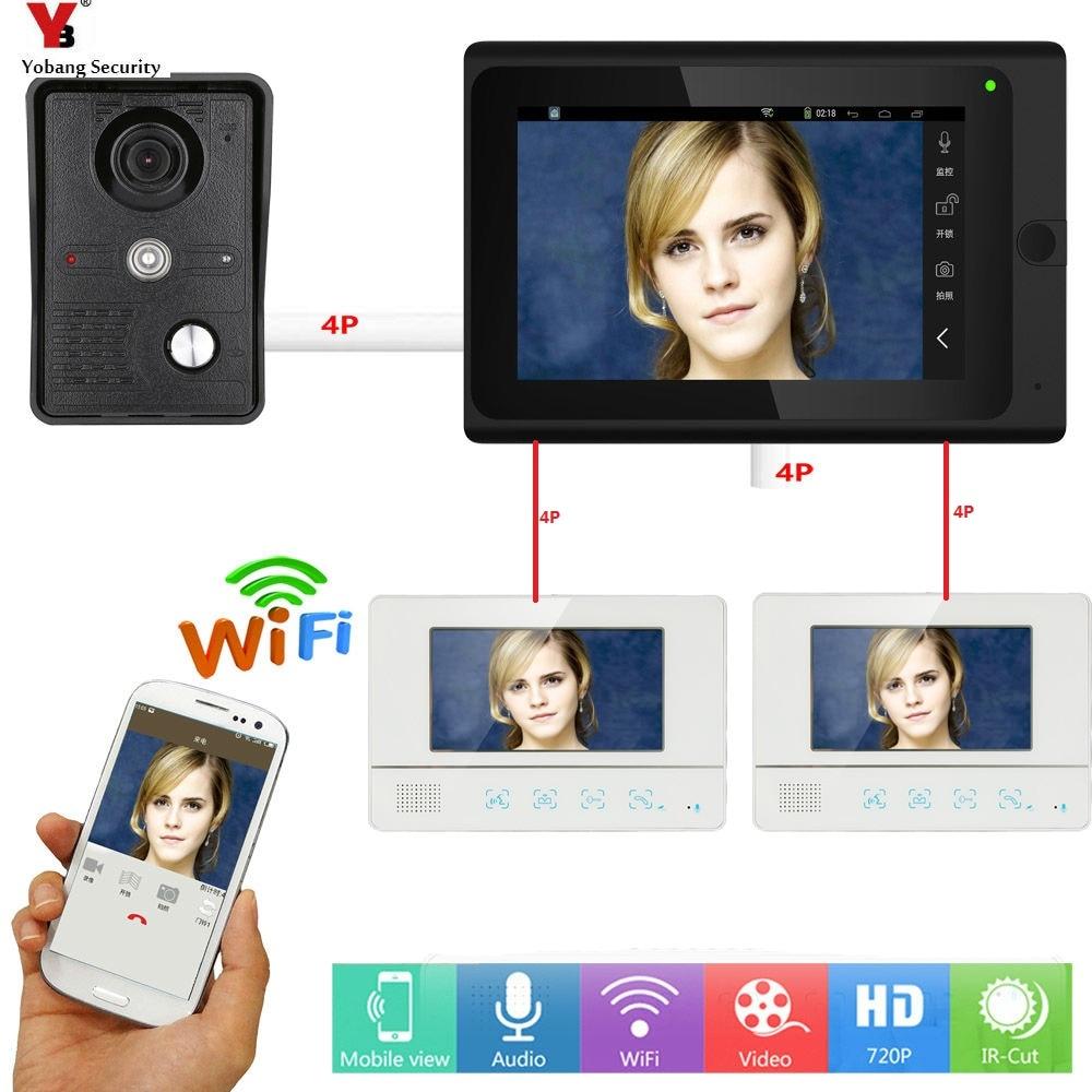 все цены на Yobang Security Video Door Entry Camera Intercom System 3x 7 Inch Monitor Wifi Wireless Video Door Phone Doorbell APP Control онлайн