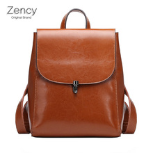 Zency Famous Brand Backpack Oil Wax Cow Leather Backpack Tote Bag Women Female Genuine Leather Cowhide Bags