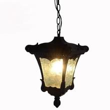 Открытый свет lwaterproof led подвесные светильники ретро чердак сад во внутреннем дворике виллы коридор освещение один черный подвесные светильники za