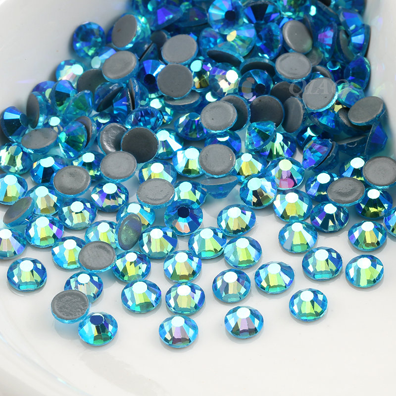 Image 2 - QIAO SS6 SS20 Aquamarine AB Crystal Glass Iron On Rhinestone/Hot Fix Rhinestone For Clothes Decoration-in Rhinestones from Home & Garden
