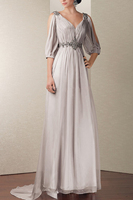 New Arrival 2014 Beaded Waist Chiffon Brides Mother Dresses For Wedding Pleat Long Mother of the Bride Dresses With Sleeves 2014