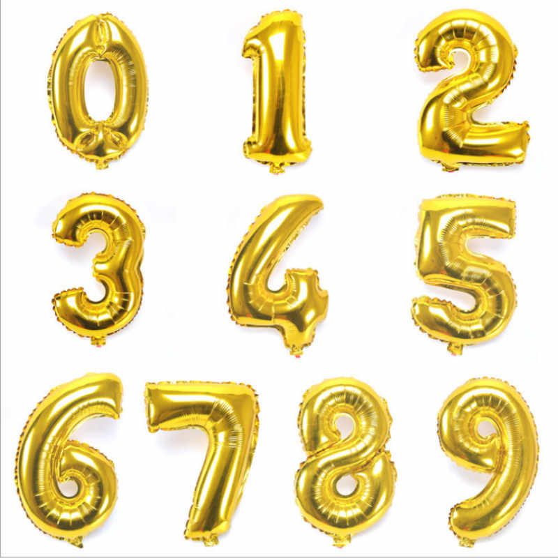 16 32 40 Inch Number Balloons Foil Ballon Gold Silver Digit Globos Wedding Birthday Party Decoration Baby Shower Supplies
