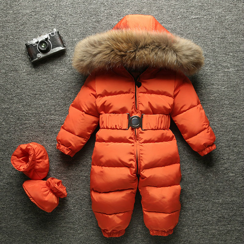 0a7273b0f 2019 Winter Baby Romper onesie Coat Infant Children Snowsuit Outerwear  Newborn Girl Boys Jumpsuit Snow Wear Overalls Fur Hood-in Rompers from  Mother & Kids ...