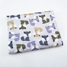 Fox Animal Pattern Kids Twill Cotton Fabric By Half Meters for Patchwork Quilting Baby Bedding Blanket Sewing Cloth Material