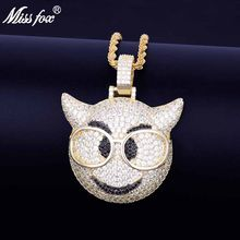 MISSFOX Hip Hop Cute Big Eye Glasses Owl Head 24k Gold Plated Aaa Cubic Zirconia Women Men Personalized Pendant(China)