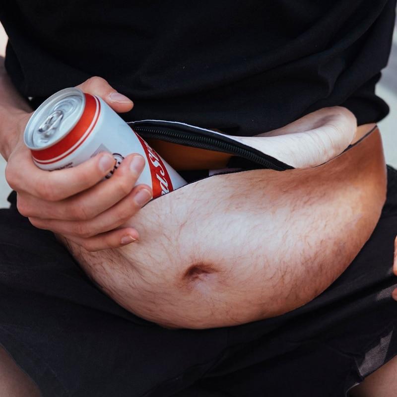 Fun Men Women Dad Bag Dad Bod Waist Bags Novelty Beer Fat Hairy Belly Fanny Pack