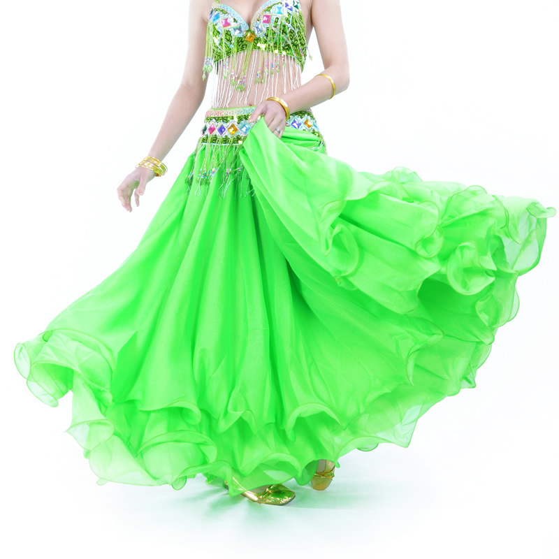 2017 Three-tier Skirt Three-tier Chiffon Curling Belly Dance High-end Skirt Belly Dance 12 Meters Large Skirt Without Waist Belt