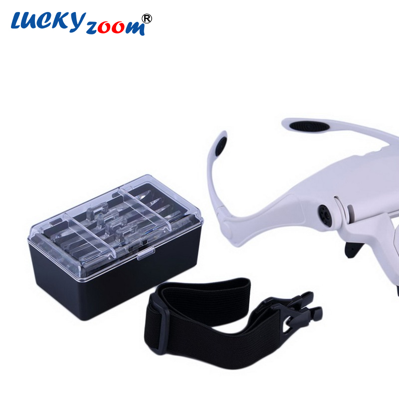 Luckyzoom Headband 2 LED Magnifier 1x 1.5x 2x 2.5x 3.5x Lens Interchangeable Head Eye Magnifying Glasses With Lamp Free Shipping