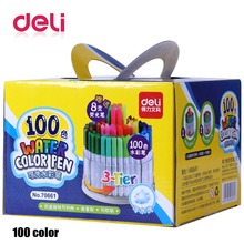 Deli 1pcs 18/24/36/48/100 Colors tip Watercolor Brush Marker Pen Set Tips washable markers Coloring Books Drawing Highlighting