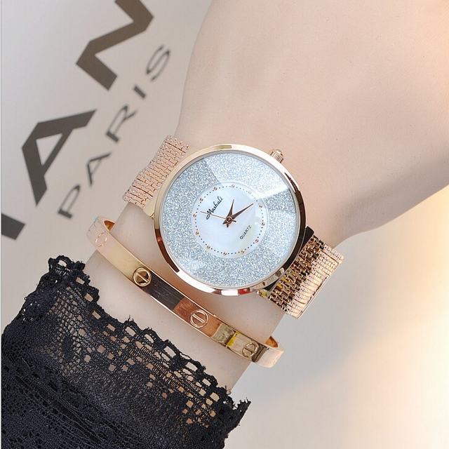 2017 Latest Style Women Watch Luxury Fashion Crystal Tel Bracelet Female Dress