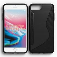 10pcs/lot.black shockproof Anti-skid S Line TPU Gel Skin Case Cover For iPhone 6 Plus/6S Plus/7 Plus/8 Plus (universal)