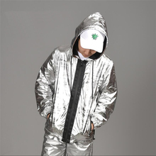 Mairuker Bright Silver Soft Joggers Mens Jacket And Coat Homme Zipper Hooded Male