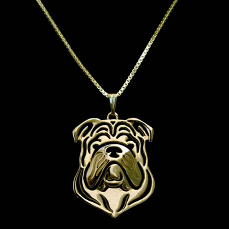 English Bulldog Necklace Gold Dog Pendant Necklaces Animal Charm Gifts For Pet Lovers Dog Jewelry Stores 10pcs