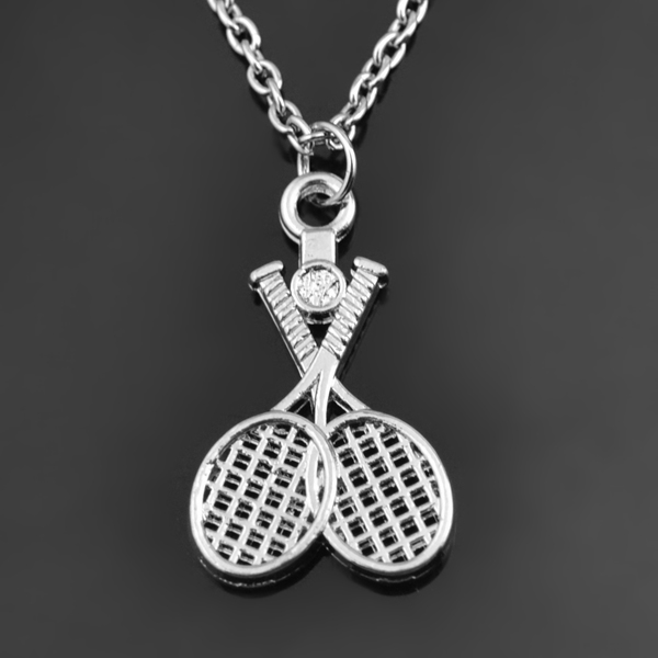 Sports Double Tennis Pendant Necklace Rhodium Plated