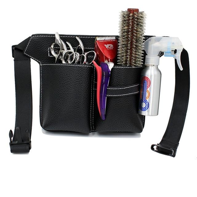 높은 품질 pu 가죽 헤어 가위 가방 큰 스토리지 공간 헤어 빗 전단 파우치 홀더 케이스 벨트 이발사 미용 도구 가방