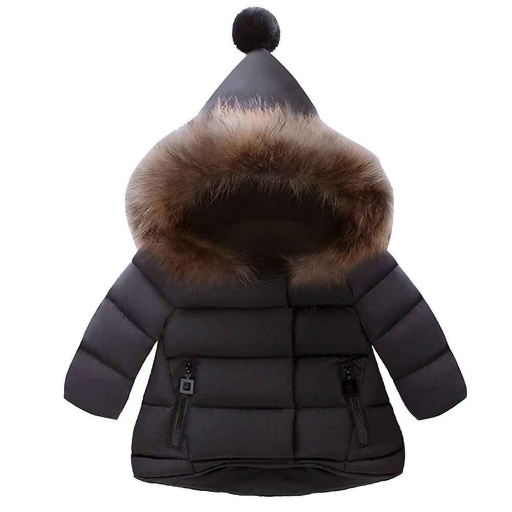 Новинка зимы одноцветное Цвет детей теплое пальто Одежда для девочек и мальчиков Костюмы наряд хлопковая куртка верхняя детская одежда