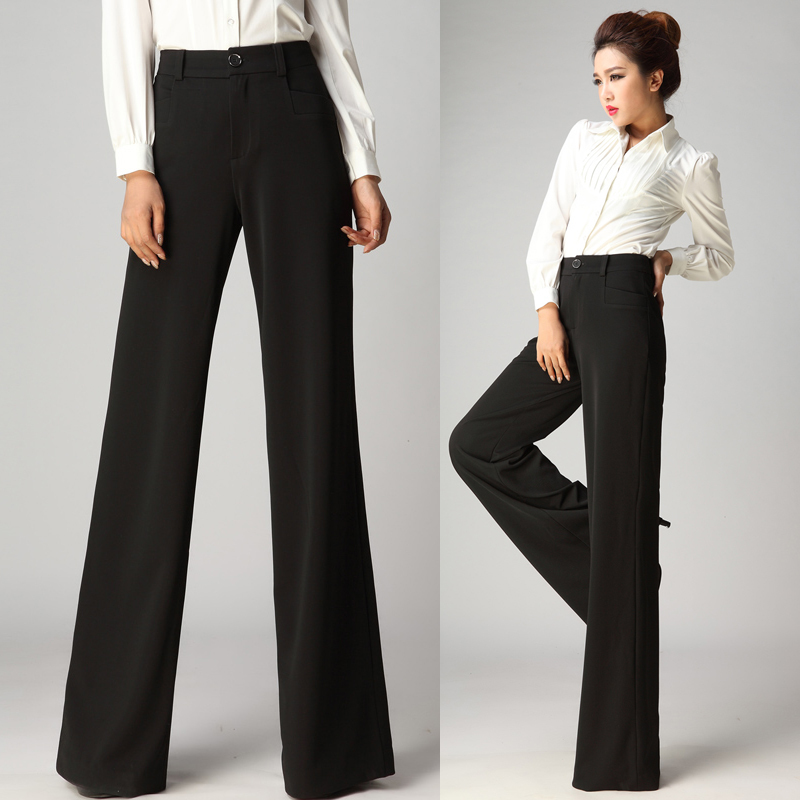 2014 New Winter Autumn Fashion Formal Womens Wide Leg Black Trousers