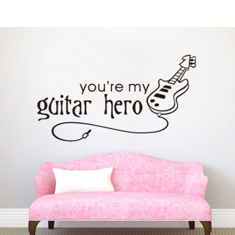 guitarra etiqueta de la pared del vinilo decoracin tatuajes de pared decoracin del dormitorio casa dormitorio