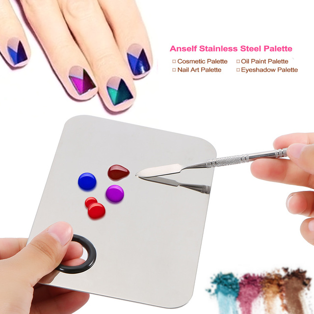 Anself makeup eyeshadow cosmetic nail art palette stainless steel anself makeup eyeshadow cosmetic nail art palette stainless steel nail polish mixing palette spatula nail prinsesfo Image collections