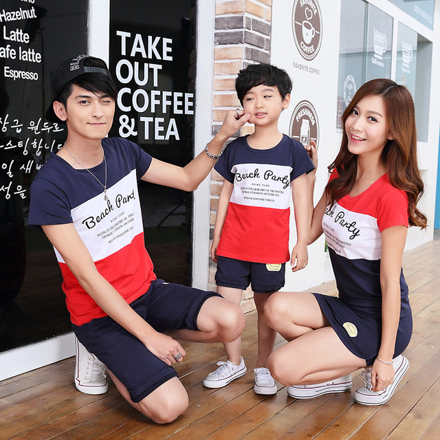 2017 Summer Family Matching Outfits Short-sleeved Cotton Mother Father and Baby T-shirt + Shorts 2Pcs Set Casual lovers clothing
