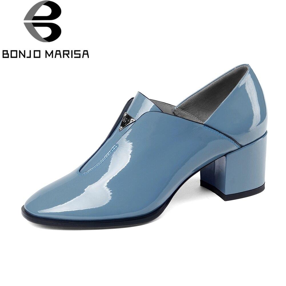 BONJOMARISA elegantes zapatos de charol de mujer de cuero genuino otoño 2019 sólido Ol mujeres ZAPATOS DE TRABAJO mujer tacones altos talla grande 33  43-in Zapatos de tacón de mujer from zapatos    1