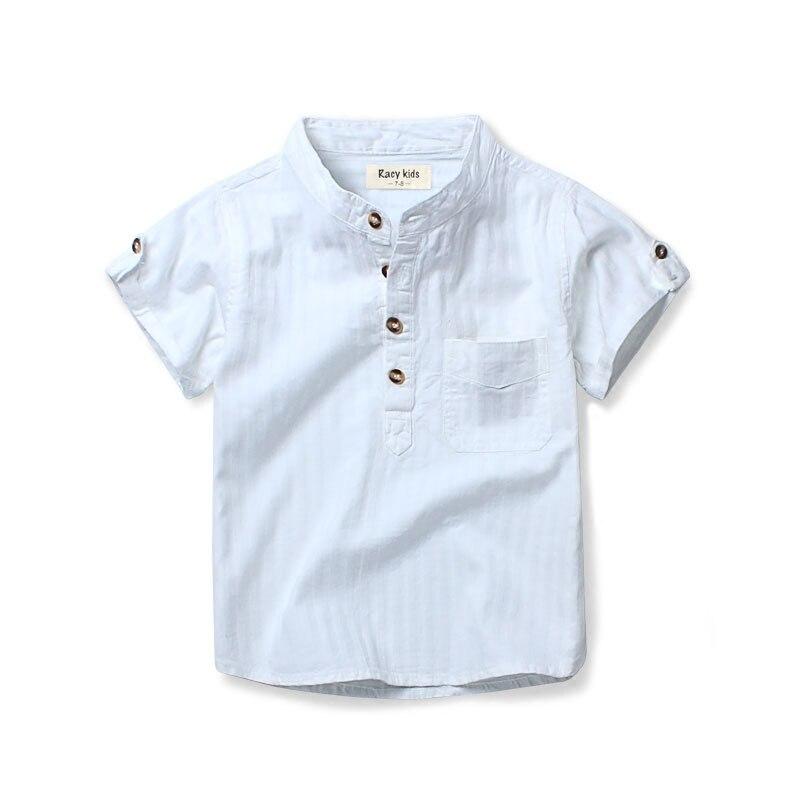 Children s short sleeved shirt cotton boys white shirt