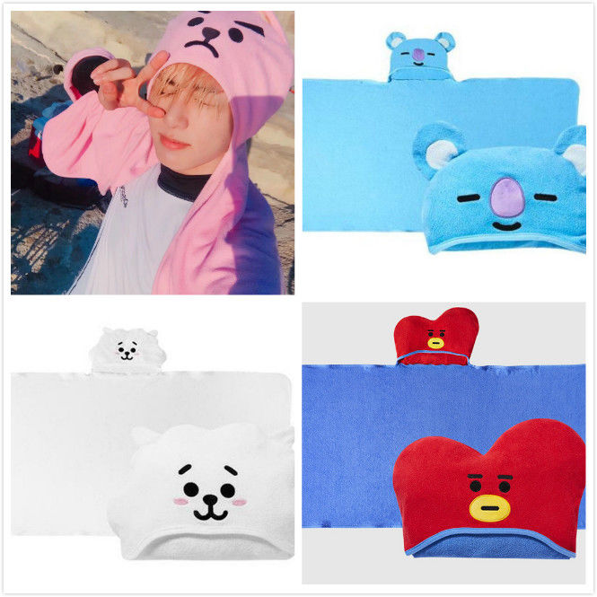 NEW KPOP BTS BT21 Bangtan Boys COOKY TATA  Beach Hood Towel MANG SHOOKY CHIMMY KOYA RJ Friends Cartoon Plus Large Cloak Hat Cap