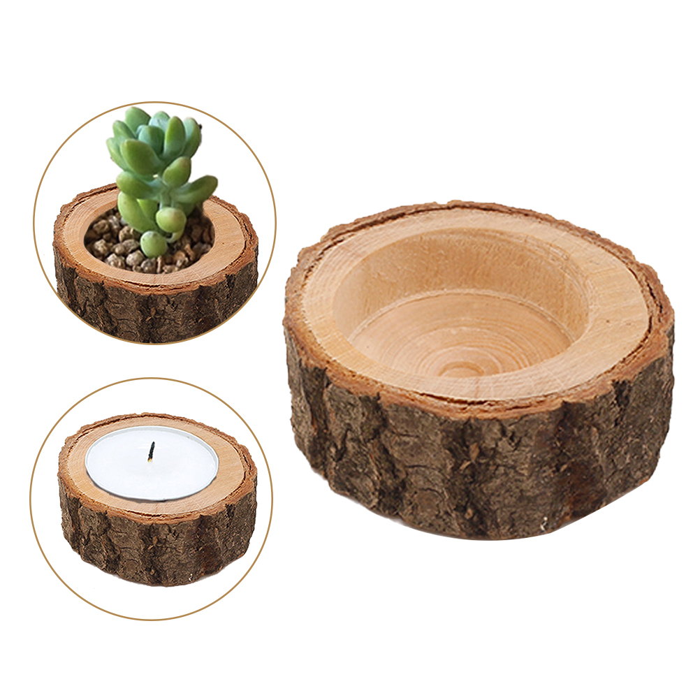 1pc Mini Candle Stand Set Creative Wooden Bark Candlestick Indoor Flower Pot Home Decoration Ornament