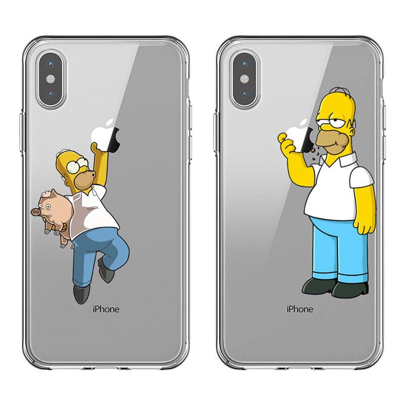 Funny Simpson Eat Apple LOGO Fashion Soft Silicone TPU Phone Cases Cover For IPhone 11 Pro MAX 5S 6 6SPlus 7 8Plus X10 XR XS MAX