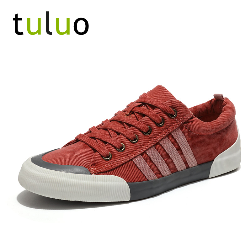 TULUO Sneakers Men Skateboarding-Shoes Classics Canvas Flat Summer Lace-Up Red Soft Breathable title=