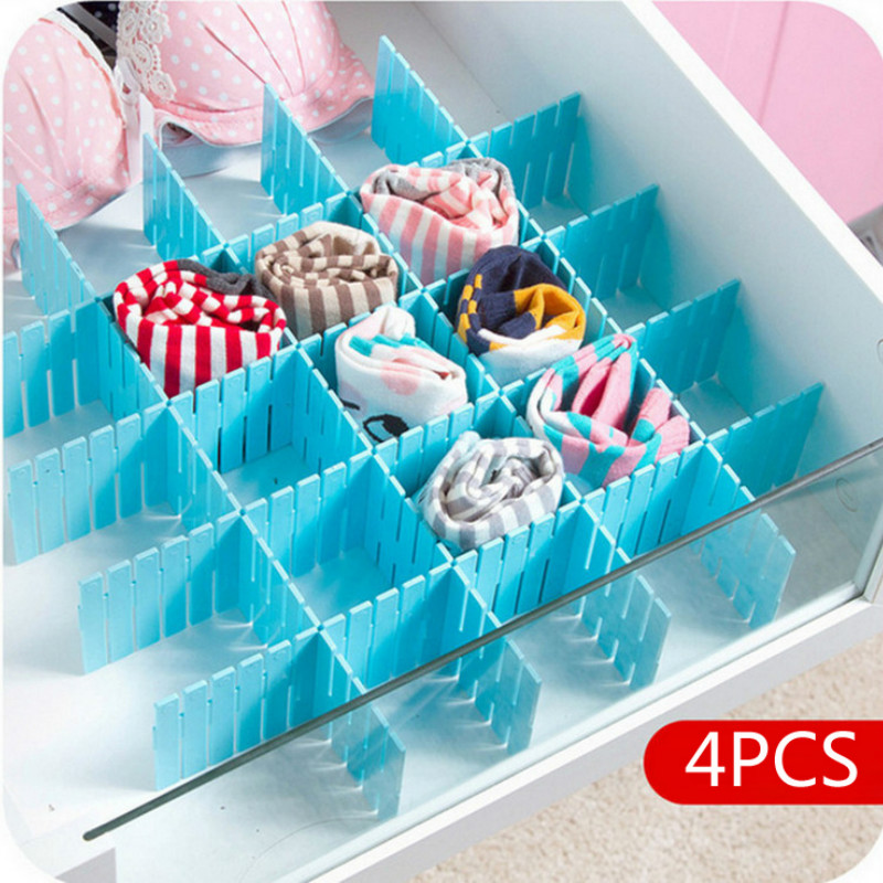 4Pcs DIY Plastic Drawer Grid Separator  Divider Partition Storage Organizer Underwear Socks Makeup Clapboard Mx7051643