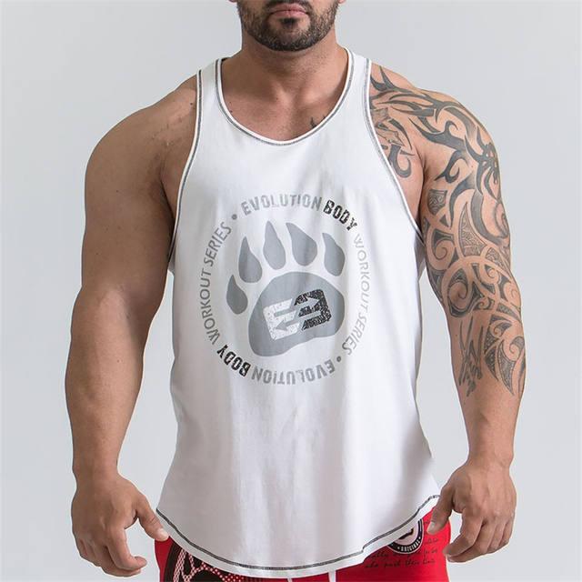 Men New Bodybuilding Vest Gyms Fitness Cotton Tank Top 2018 Men's New Brand Tanka Printing Palm Top Leisure Sweater Men Tank Top
