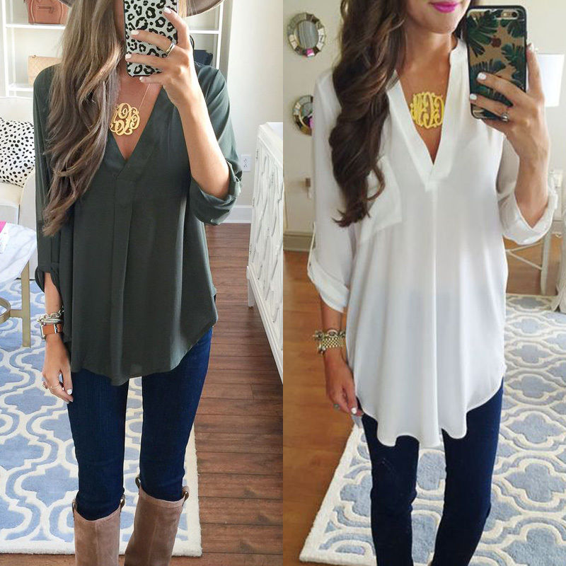 Hirigin Women s Casual Long Sleeve Tops Shirt Ladies V Neck White Green Colors Loose Blouse