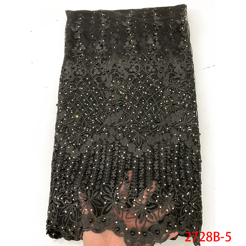 High Quality African Tulle Lace Black Color, French Lace Fabric With Stones, Beaded Nigerian Wedding Lace For 5yards KS2728B-5