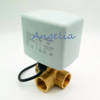 New G1 DN25 Brass 3 Way 220V/24VAC 3 wires Motorized Ball Valve L Type Electrical Actuator Valve