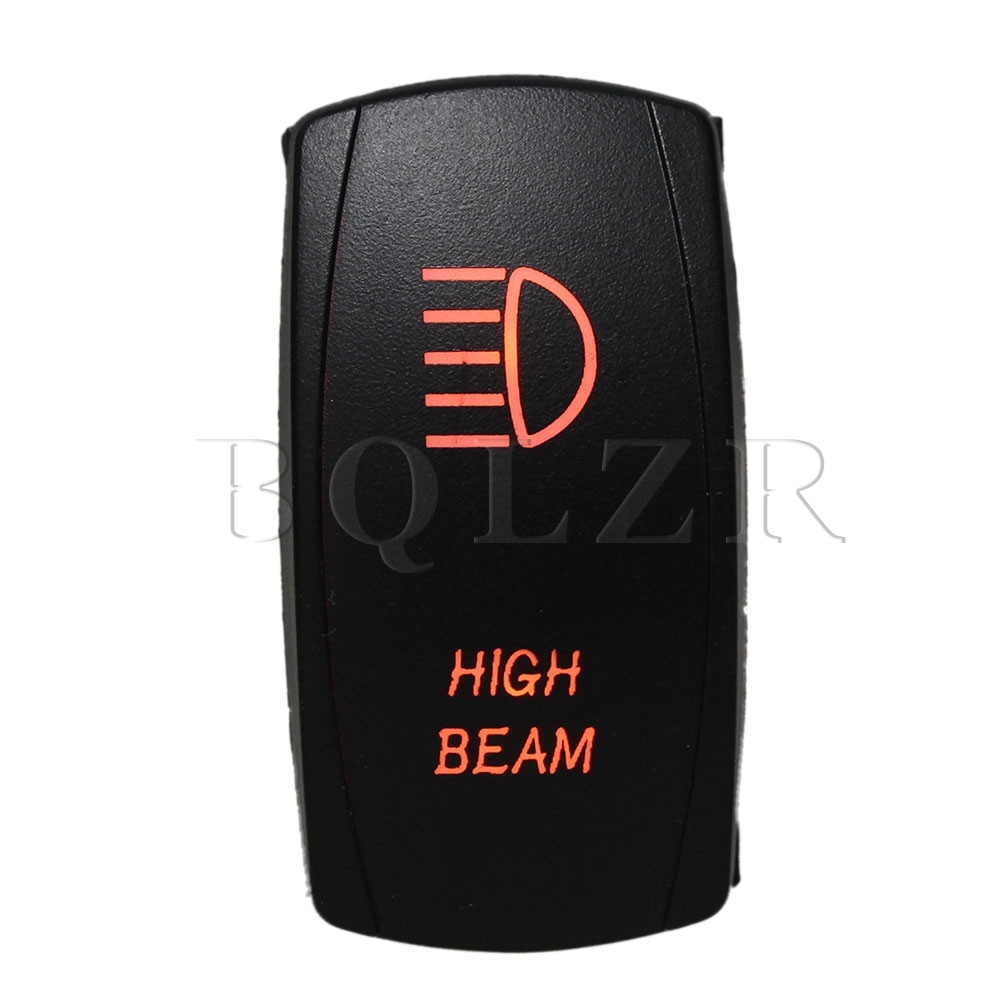 BQLZR Dual Orange LED High Beam Double ON-OFF-ON Momentary Rocker Switch for Car bqlzr dc12 24v black push button switch with connector wire s ot on off fog led light for toyota old style