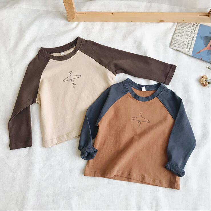 2018 best selling boys patchwork t-shirt cotton spring autumn full sleeve boys top 1-7t HC152