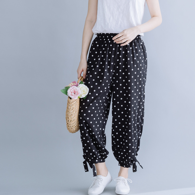 0638 White Polka Dot Printed Black Bloomers Harem Pants Women Elastic Waist Trousers Casual Thin Ankle length Korean Fashion in Pants amp Capris from Women 39 s Clothing