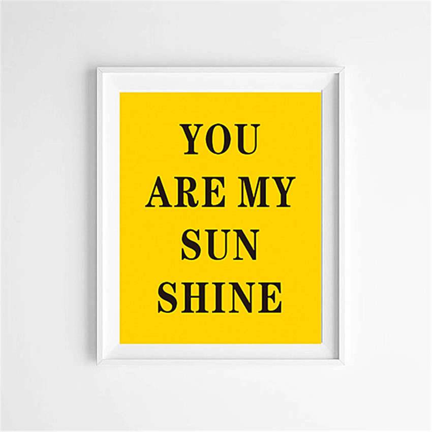 Cotill You Are My Sunshine Canvas Art Print Poster Home Decor Yellow ...