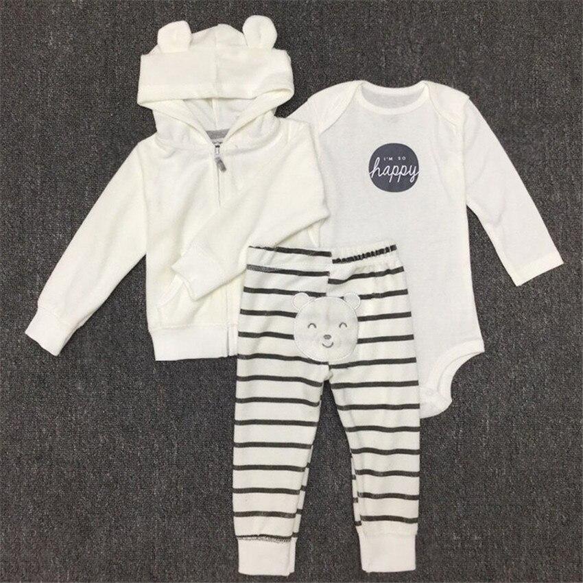 0-2Yrs New Baby Clothing Set Newborn Spring 3Pcs Set Hoodies+Pants+Romper Boys Girls Plain White Clothing 2017 New Arrival 15E