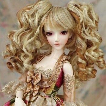 Accessori della bambola 1/3 bjd parrucca bambola capelli rimovibile code lunghe ricci ondulati ragazza carina femminile frangia anima ad alta temperatura-MKmiku