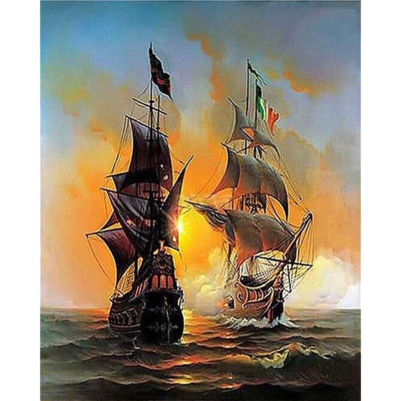 Navegación de frameless guerra barco paisaje marino pintura de DIY por números pintura en lienzo arte de la pared regalo único para la decoración casera 40x50 cm