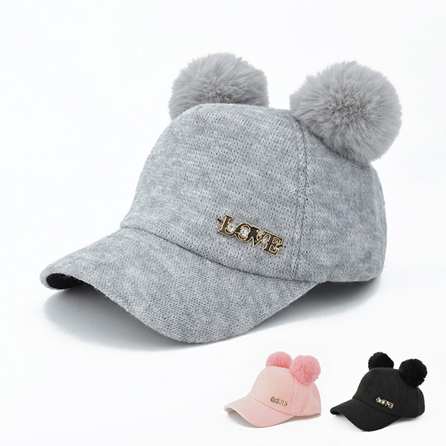 f22230dec96 Winter Double Pompom Baseball Cap For Kids Fitted Baseball Caps Pink Grey  Black Hat Girls Boys Children Kids Caps