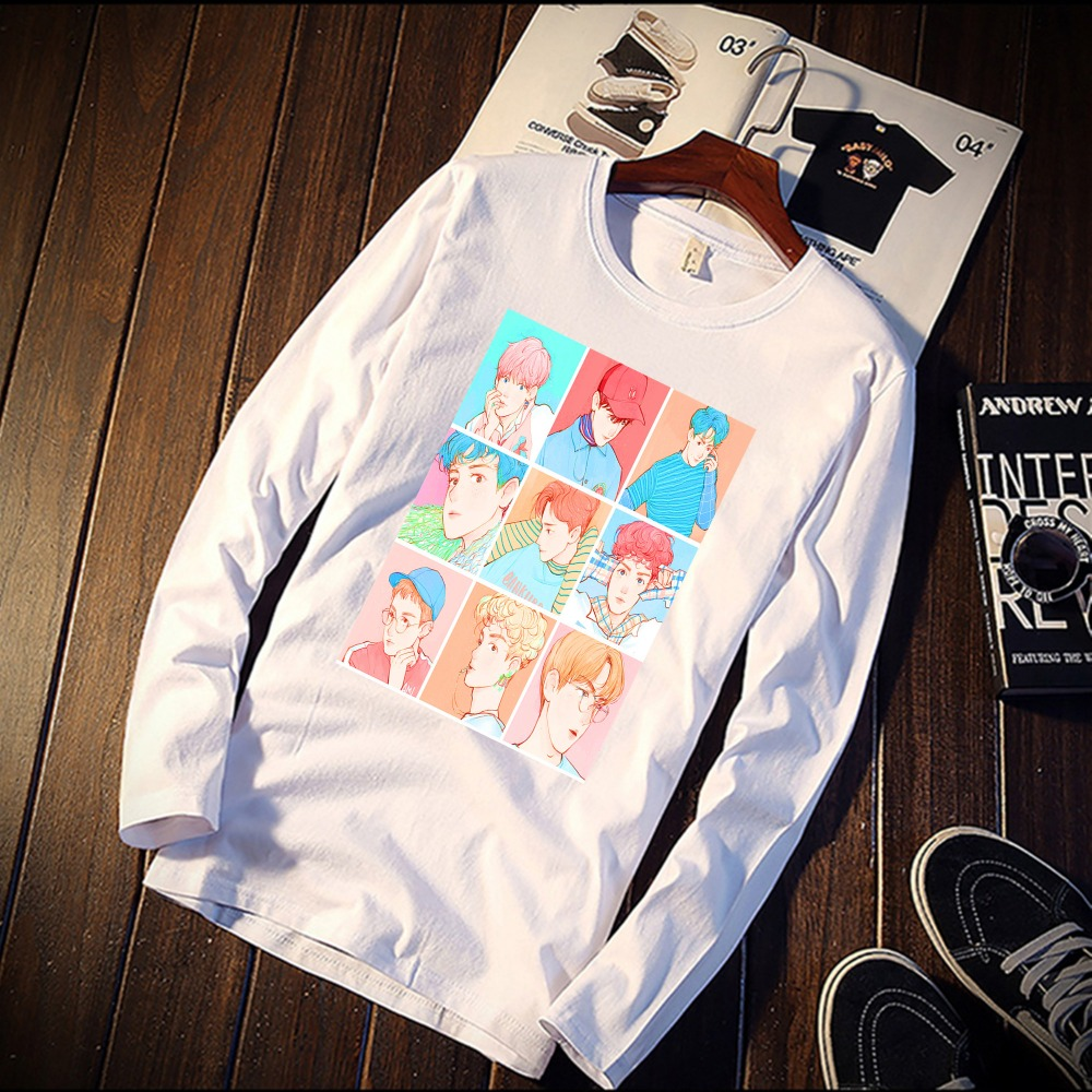 2018 Pure Cotton TShirt Funny EXO Cartoon  Art Printed Long Sleeve Fashion Casual Tops & Tees Brand Unisex Clothing