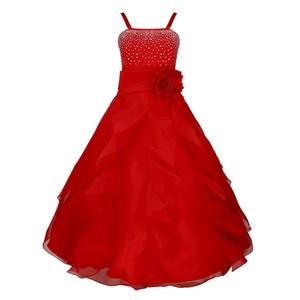 Image 2 - 子供ガールズノースリーブオーガンザのチュチュプリンセスフラワーガールドレス夏の結婚式誕生日パーティーロングドレス初聖体ドレス